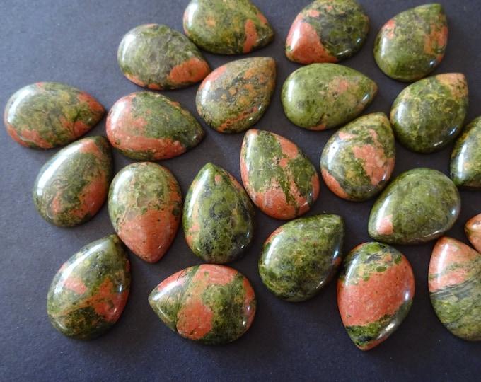25mm Natural Unakite Teardrop Cabochon, Tear Drop Cabochon, Polished Gem Stone, Natural Gemstone, Green and Pink Stone, Polished Gem