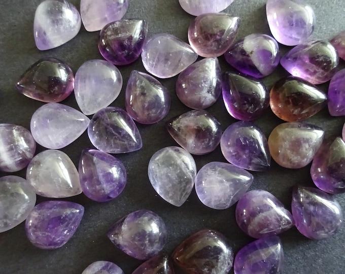 8x10mm Natural Amethyst Cabochon, Teardrop Gemstone Cabochon, Purple Amethyst Stone, Pretty Gem, Polished Gem, Purple Birthstone, Pastel