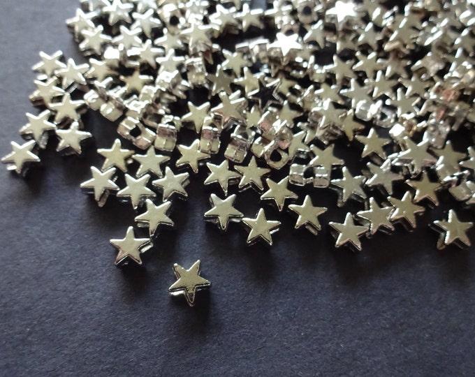 5x6mm Brass Platinum Star Bead, Metal Spacer, Star Spacer, Small Metal Spacer, Antiqued Metal Silver Star, Jewelry Making Idea, 1.5mm Hole