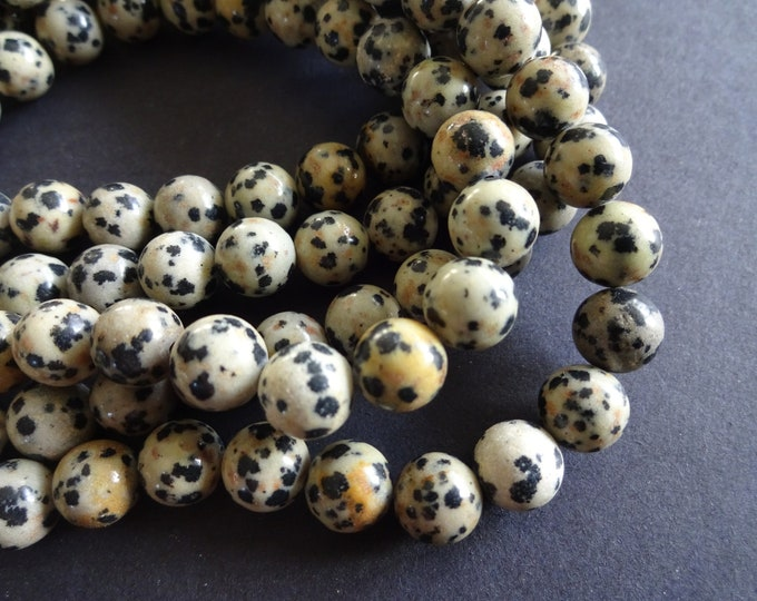 8-8.5mm Natural Dalmation Jasper Beads, 15.5 Inch Strand, 47+ Gemstone Beads, Natural Round Stone, Spotted and Speckled, Beige and Black