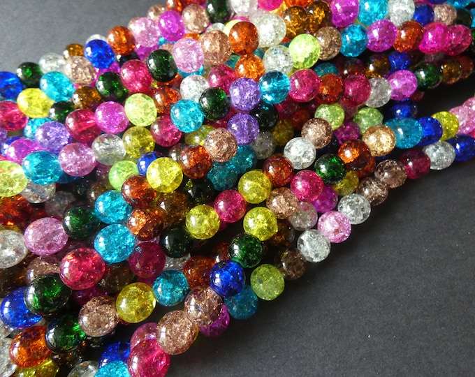 16 Inch Strand Crackle Glass Ball Bead Mix, 10mm Beads, About 42 Beads, Mixed Colors, Transparent, Vibrant Bright Jewelry Beads, Round