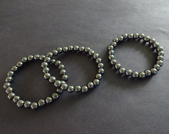 Magnetic Hematite Stretch Bracelet, Sythentic, 8mm Ball Beads, Stretchy Cord, Silver Bracelet, Round Beads, Metallic, Great For Men & Women!