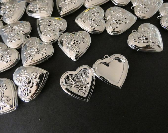 29mm Brass Rose Heart Locket Pendant, Silver, Heart Pendant With Flower Engraving, Metal Charm, DIY Jewelry Making, Flower Photo Locket