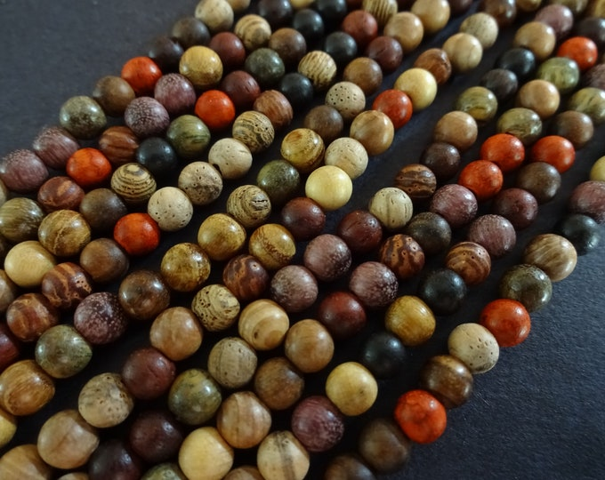 15.5 Inch 4mm Natural Wood Ball Bead Strand, Dyed, About 98 Beads. Brown & Mixed Color, Wooden Beads, Lightweight, Polished, 1mm Hole