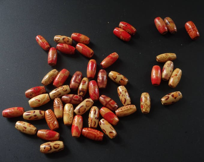 15x7mm Exotic Printed Wood Beads, Designed Wooden Beads, Mixed Wooden Beads, Asian Inspired Printed Beads, Long Wooden Beads, Printed Wooden