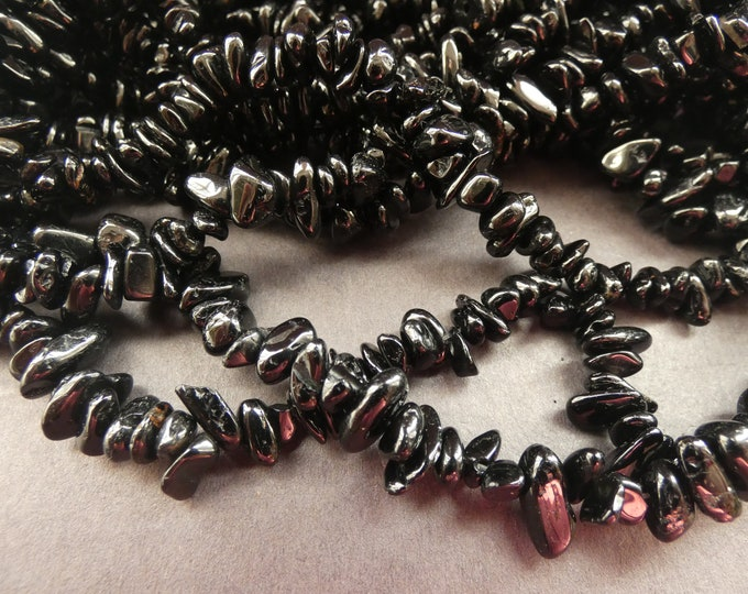 33 Inch 4-12mm Natural Black Tourmaline Bead Strand, About 250 Beads, Drilled Tourmaline Nuggets, Polished Crystal Beads, Semi Precious