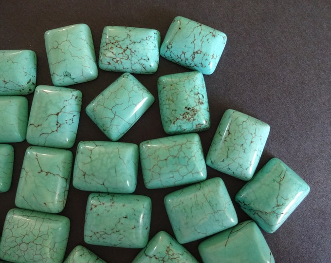 22x17mm Natural Turquoise Gemstone Cabochon, Dyed, Rectangle Cabochon, Polished Teal Blue Cab, Natural Stone, High GradeTurquoise Jewelry