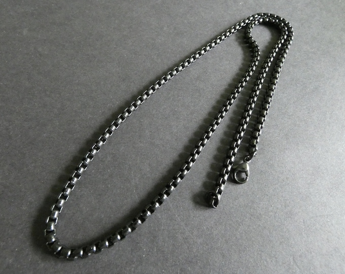 304 Stainless Steel Box Chain For Men, Black Color, Lobster Claw Clasp, 22 Inches Long, Men's Chain, Classic Chain Necklace, Black Chain