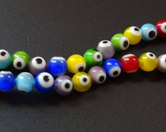 6mm Evil Eye Lampwork Glass Beads, One 16 Inch Strand of About 69 Beads, Rainbow Multicolor, 6mm Round Balls, Handmade Glass, Mixed, Variety