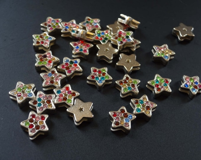 12mm Metal and Rhinestone Star Slide Charm, Mixed Color Rhinestones, Metal Stars, Star Charm, Multicolor Star Focal, Rhinestone Charms