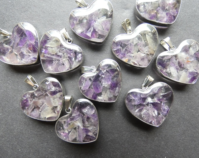 21mm Natural Amethyst & 304 Stainless Steel Pendant With Glass, Heart Charm, Polished, Gemstone Jewelry Pendant, Purple and Silver Metal