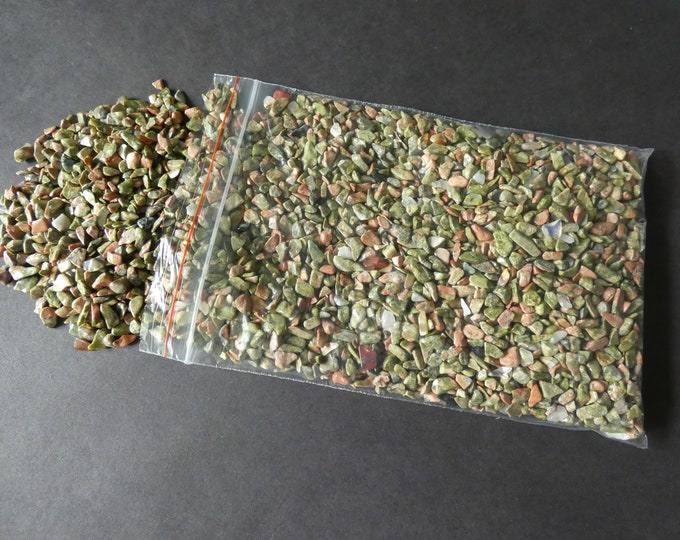 250 Grams Natural Unakite Chips, Undrilled, 2-8x2-4mm Size, 1/2 Pound, 8.8 Ounce, No Holes, Pink & Green, About 4,250 Pieces, Mineral Stones