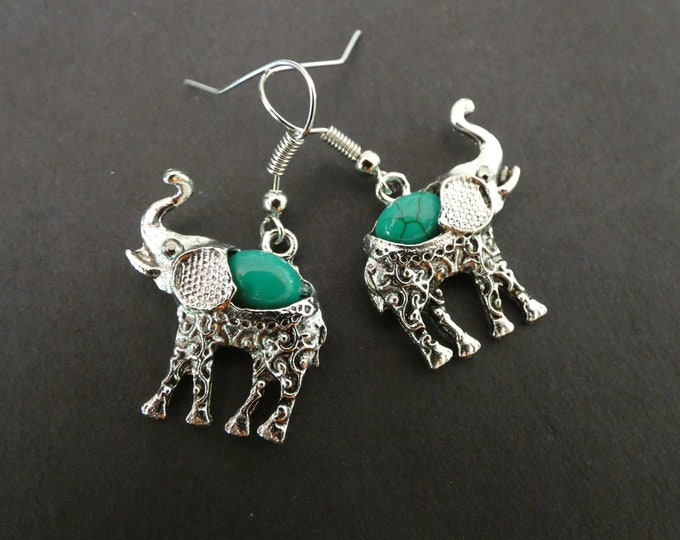Alloy Metal & Natural Turquoise Elephant Earrings, Dyed, Dangle Earring, Vintage Theme, Bohemian Tribal Jewelry, Antiqued Theme