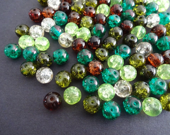 8mm Crackle Glass Ball Bead Mix, Chocolate Mint Mix, Mixed Lot, Transparent, Bright Jewelry Beads, Round, Green, Brown and Clear Colors