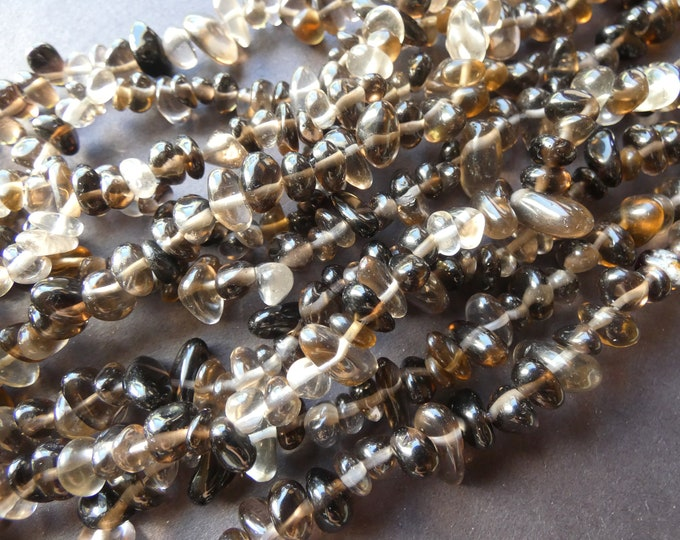 15-16 Inch Natural Smoky Quartz Chip Bead Strand, 4-14mm Natural Stone Beads, Natural Quartz, Gemstone Bead, Transparent, Small Pebbles
