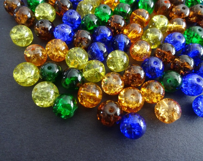 8mm Crackle Glass Ball Bead Mix, Halloween Mix, Mixed Lot, Transparent, Vibrant Bright Jewelry Beads, Round, Orange, Green, Yellow and Blue