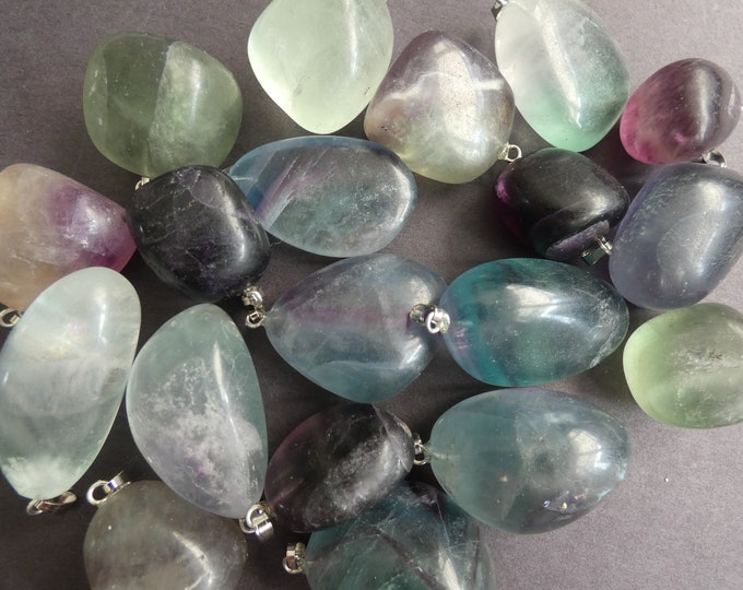 2 PACK 26-32mm Natural Fluorite Pendant & Alloy Metal Loop, Nugget Shaped, Purple, Blue and Green, Polished Gem, Gemstone Fluorite Charm