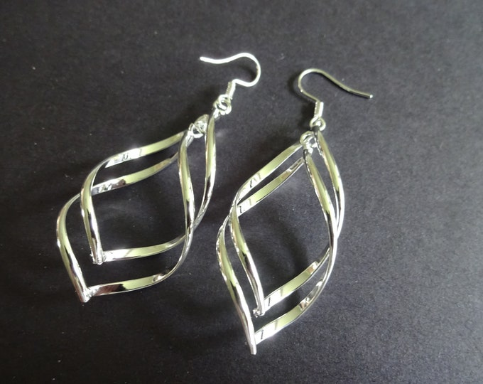 Brass Dangle Earrings, Silver Color Metal, Fish Hook Style, Twisted Looped Design, Dangling Pair Of Earrings For Pierced Ears, Women's