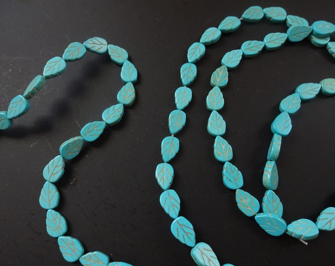 15 Inch Strand Blue-Green Magnesite (dyed / stabilized), Carved Leaf Bead, Leaves, Detailed, Handcrafted, Blue Bead, Nature Theme