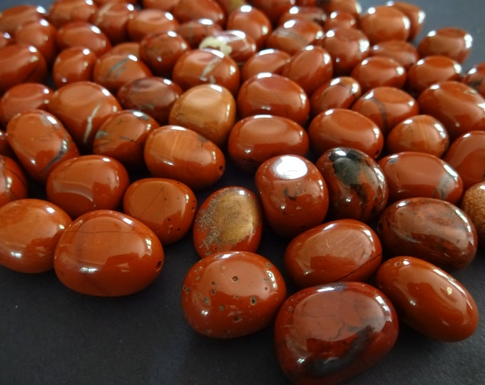 5 PACK 11-21mm Natural Half Drilled Red Jasper Beads, Polished Nuggets, Red Gemstones, Earring Stones, Jasper Stones, HALF DRILLED