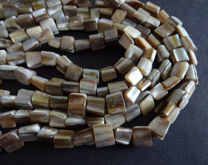 15-16mm Natural Mother Of Pearl Shell Bead Strand, Taupe Color, Shell Chips, Drilled Seashell, Beach Jewelry Making, About 48 Per Strand