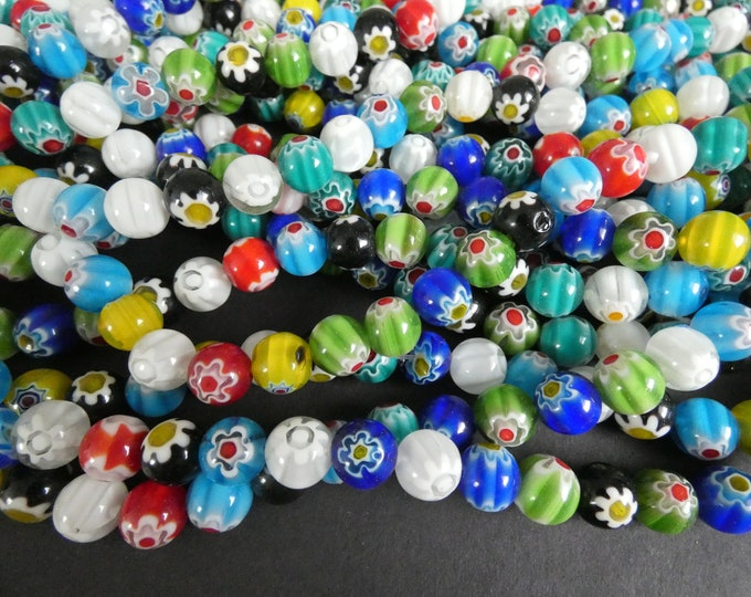 16 Inch 10mm Glass Millefiori Bead Strand, About 38 Glass Ball Beads, Mixed Lot, Multicolor Bead, Flower Bead, Large Ball Bead, 1mm Hole