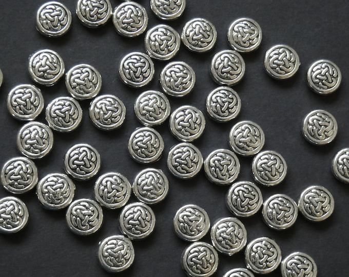 50 PACK of 10mm Flat Round Beads, Tibetan Style Metal Bead, Metal Flat Round Bead, Silver Flat Round Beads, Silver Metal Beads, Round Spacer