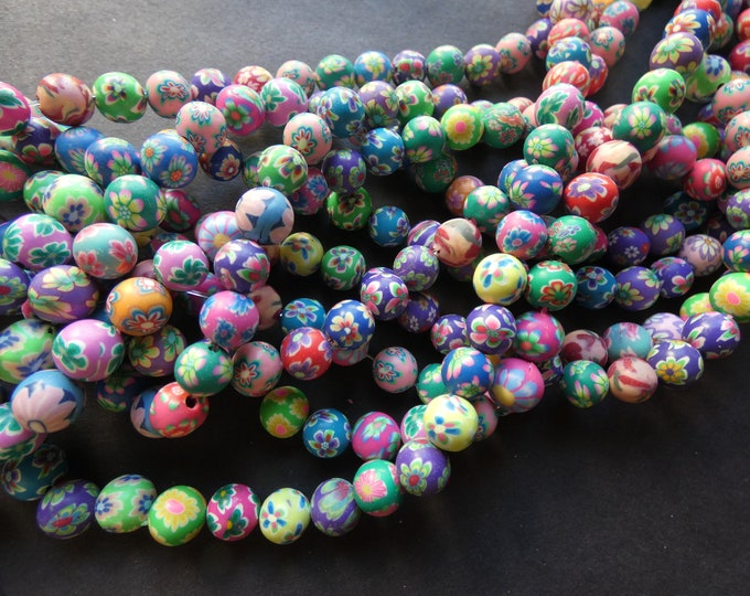 50 Rainbow Translucent Striped 6mm Round Plastic Acrylic Resin Beads with Lines