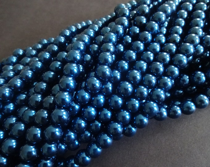 8mm Blue Glass Faux Pearl Bead Strand, About 110 Faux Pearls Per Strand, Pearlized Glass, Round, Steel Blue Ball Bead, 32 Inch Strand