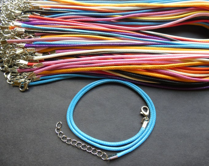 18.1 Inch 2mm Wax Cord Necklace, Iron Lobster Claw Clasp With Extender, 2mm Diameter, Mixed Lot Of Colors, Rainbow, Necklace Making
