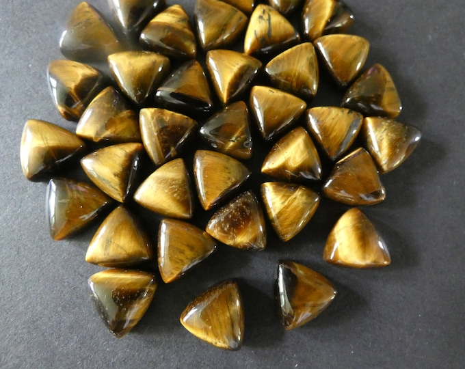 9.5-10mm Natural Tiger Eye Cabochon, Triangle Cabochon, Polished Gem, Tigereye Cabochon, Natural Gemstone, Polished, Tiger's Eye, Tigers Eye