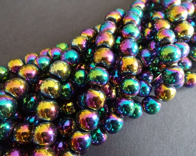 8mm Synthetic Hematite Rainbow Ball Beads, About 55 Beads, 8mm Bead, 16 Inch Strand, Colorful, Bright, Hemalike, Non Magnetic, Mixed Color