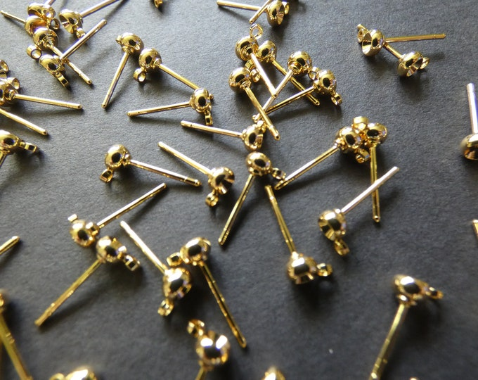 3mm Gold Plated Brass Rhinestone Earring Settings, With Loops, Fits 3mm Round Stone, Gold Stud Posts, .8mm Pin, Ear Post, Earring Making