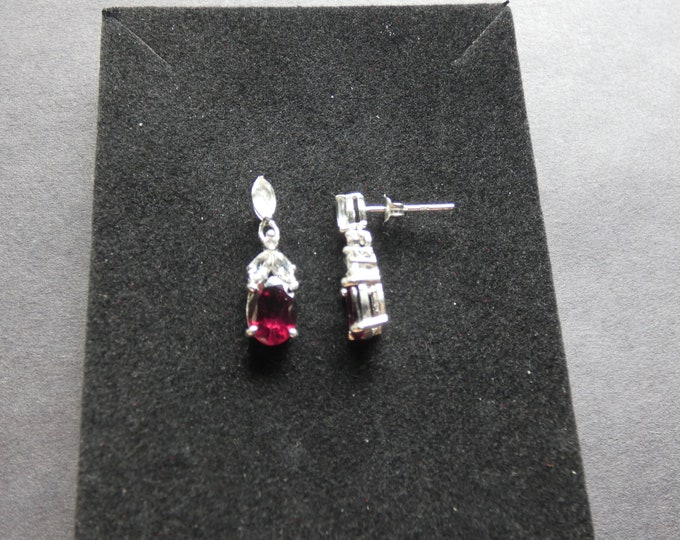 Sterling Silver & Natural Garnet Earrings, Natural White Topaz Accents, 3.46ct, Fashion Jewelry, Red Gemstone, Oval Pendant, Dangle Earring