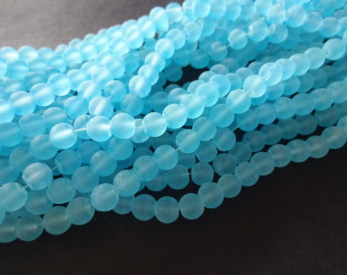 8mm Sky Blue Glass Frosted Bead Strand, About 105 Beads Per Strand, Round, 31 Inch Strand, Transparent, Bright, Round Bead, Jewelry Supply