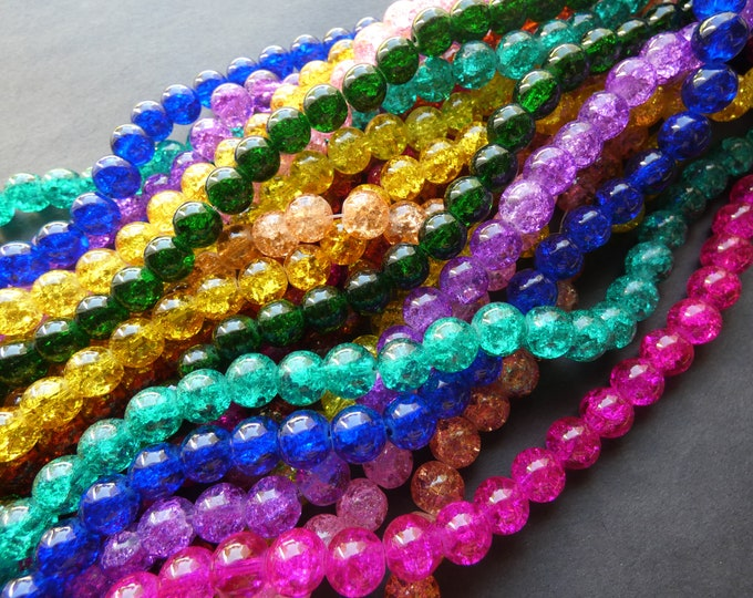 5 Pack 10mm Crackle Glass Ball Bead Strands, About 80 Beads Per 31 Inch Strand, Round Bead Lot, Mixed Color, Rainbow, Jewelry Ball Beads
