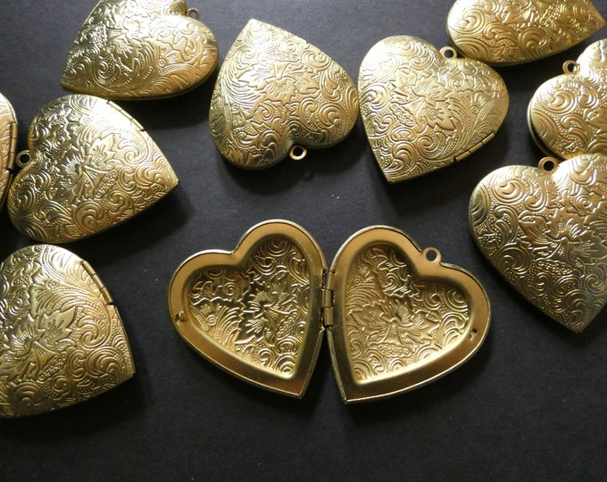 42mm Brass Floral Heart Locket Pendant, Gold, Heart Pendant With Flower Engraving, Metal Focal, DIY Jewelry Making, Photo Locket Charms
