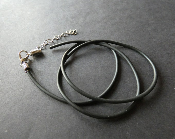 19 Inch Rubber & Iron Necklace Cord, With Clasp and Extender Chain, Basic Black and Silver Cords, 2mm Thick, DIY Jewelry Making, Lightweight
