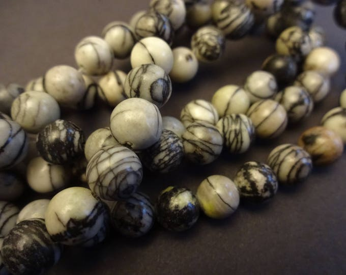 15.5 Inch Natural Netstone 8mm Bead Strand, About 47 Netstone Beads, Ball Bead, Stone Beads, Natural Gemstone Beads, Marbled Bead, 8mm Ball