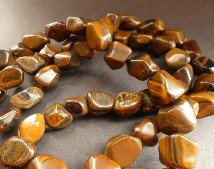 15 Inch 14-24mm Natural Tigereye Nugget Bead Strand, About 22-23 Tiger Eye Gemstones, Natural Polished Drilled Stones, Tiger's Eye, Brown