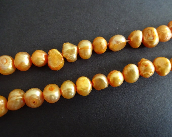 5-6mm Cultured Freshwater Pearl Beads (dyed), 16 Inch Strand, Apricot, About 60 Beads, Flat Sided Potato, Pearls, Orange Yellow, Ovals