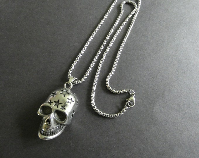 304 Stainless Steel Skull Necklace, 24 Inch, Silver Color, Lobster Claw Clasp, Skull Jewelry, Steel Chain and Pendant, Skull With Stars