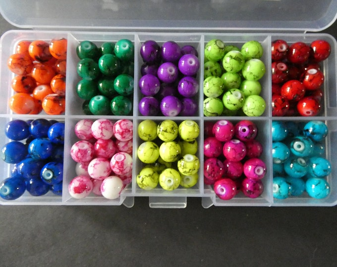 240 Beads, 10 Color Glass Drawbench Ball Beads, 8mm Round, Mixed Colors, Bead Organizer, Jewelry Making Set, Mixed Kit, Bead Starter Set