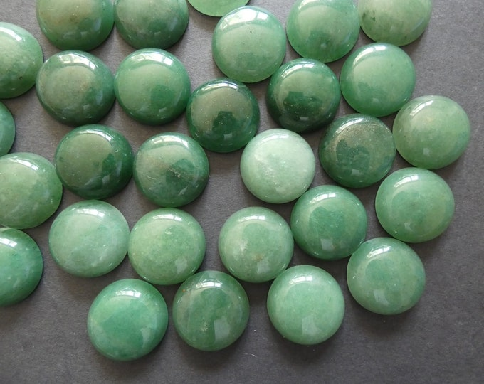 20mm Natural Green Aventurine Gemstone Cabochon, Round Dome Cabochon, Polished Gem, Natural Gemstone, Light Translucent Green, 20x6-7mm
