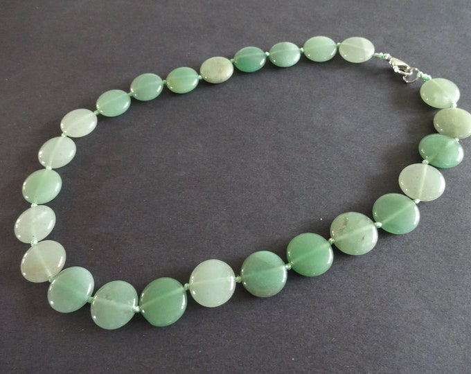 Natural Green Aventurine Bead Necklace, 18-18.5 Inch Long, 16mm Flat Round Beads, Light Green Gemstone, With Lobster Claw Clasp