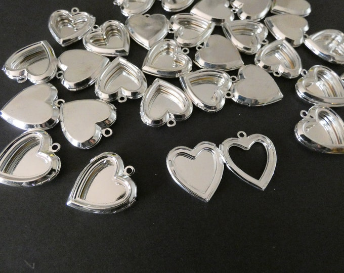 25mm Brass Heart Locket Pendant, Shiny Silver Color, Heart Pendant With Open Front, Metal Focal, DIY Jewelry Making, Photo Locket Charms