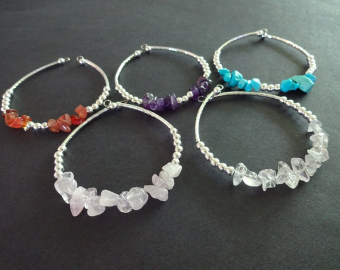 Natural Gemstone Handcrafted Bracelet, 3 Colors, Wire and Stone Cuff Bracelet, One Size Fits Most, Amethyst, Carnelian or Dyed Howlite