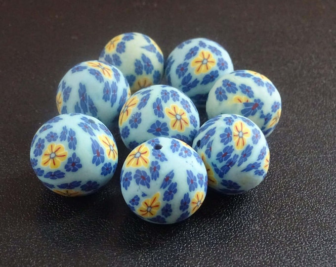 20mm Handcrafted Clay Beads, Floral Balls, Clay Polymer, Blue Color, Large Clay Beads, Round, Sky Blue, Floral Design Beads, Large Beads