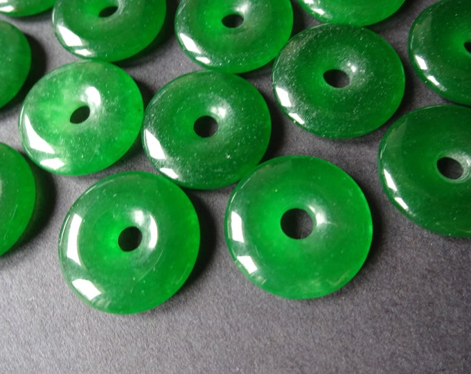 20x4mm Natural Malaysia Jade Pendant, Donuts, Green, Polished Gem, Natural Gemstone Component, Round Jade Stone, Wire Wrapping Supply