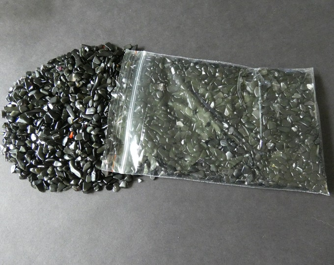 250 Grams Natural Black Stone Chips, Undrilled, 2-8x3-5mm Size, 1/2 Pound, No Holes, Classic Solid Black, Mineral Stones, Semi Transparent